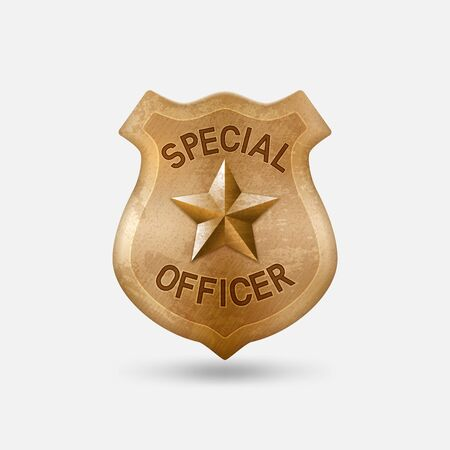 Vintage bronze Special officer badge with star Çizim