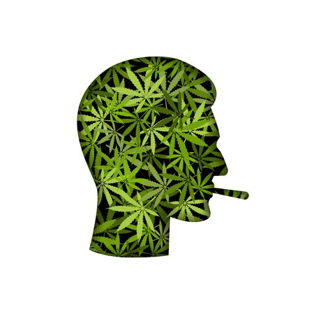 Cannabis smoker male head silhouette. Vector illustration Illusztráció