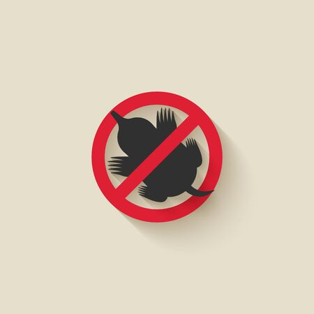 Mole silhouette. Animal pest icon stop sign. Vector illustration