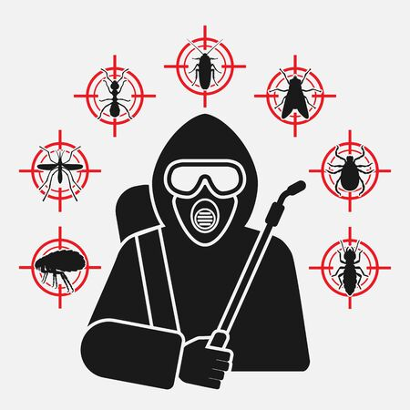 Exterminator with sprayer silhouette surrounded by insect pest icons Çizim