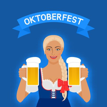 Oktoberfest girl in national dress with beer