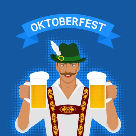 Oktoberfest man in national costume with beer. vector illustration