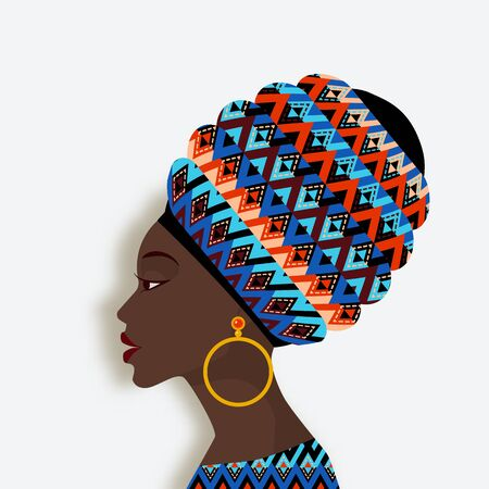 African woman in scarf and earrings in profile. vector illustration  イラスト・ベクター素材
