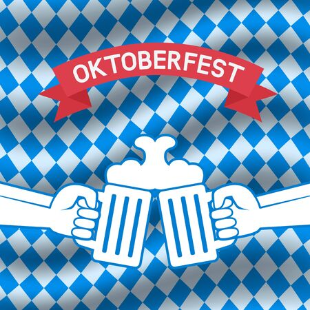 Oktoberfest beer festival poster, menu design. Hands with beer on Oktoberfest checkered background