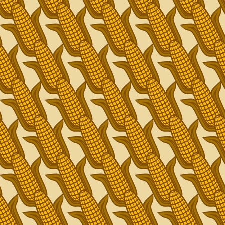 Seamless diagonal pattern with ears of corn. vector illustration