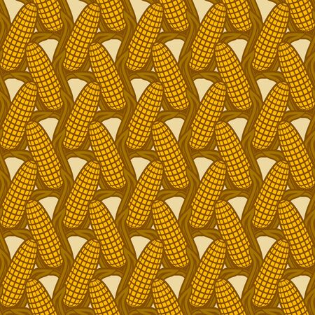 Seamless pattern with ears of corn. vector illustration