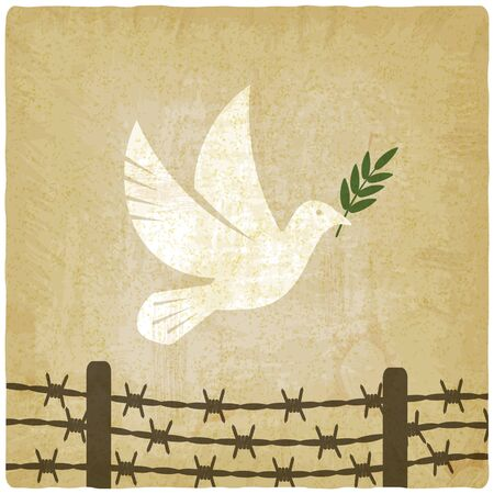 Symbol peace white dove flies over the barbed wire vintage background