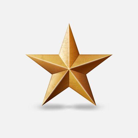 Gold metallic star symbol on white background. Vector illustration Çizim