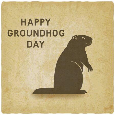 Happy Groundhog day card vintage background. Vector illustration