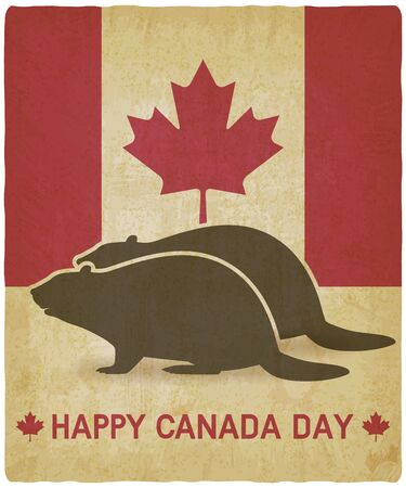 Two silhouettes of beaver on canadian flag background. Vector illustration