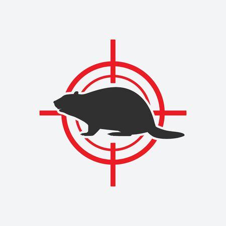 Beaver silhouette. Animal pest icon red target. Vector illustration Çizim
