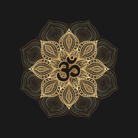 Black om symbol on golden floral pattern. Vector illustration