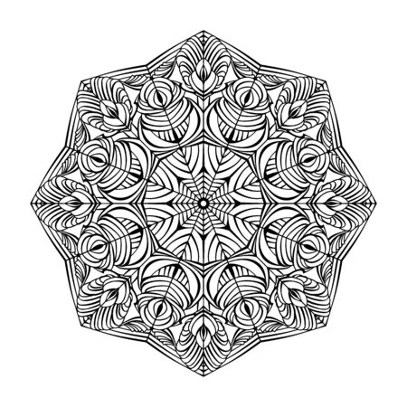 Black floral circular mandala on white background. Coloring book for adults. Vector illustration
