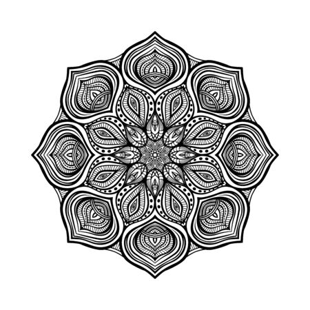 Black floral circular pattern on white background. Coloring book for adults. Vector illustration