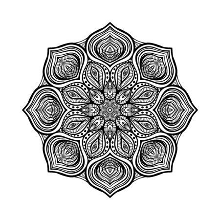 Schwarzes kreisförmiges Blumenmuster auf weißem Hintergrund. Malbuch für Erwachsene. Vektor-Illustration Vektorgrafik