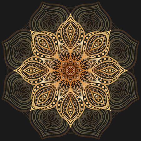 Golden floral circular pattern on black background. Vector illustration