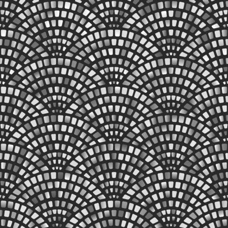 Monochrome mosaic arched fish scale seamless pattern. Vector illustration Çizim