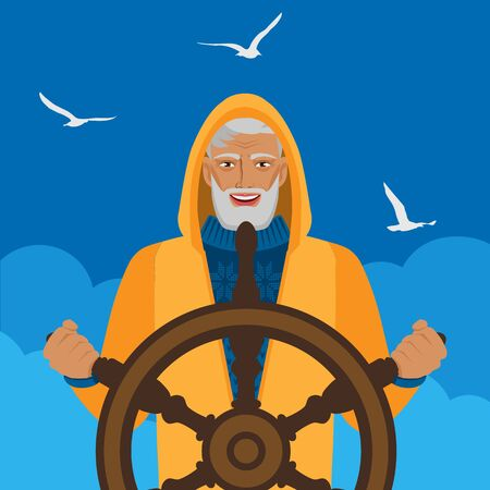 Fisherman at helm against cloudy sky and seagulls. Vector illustration
