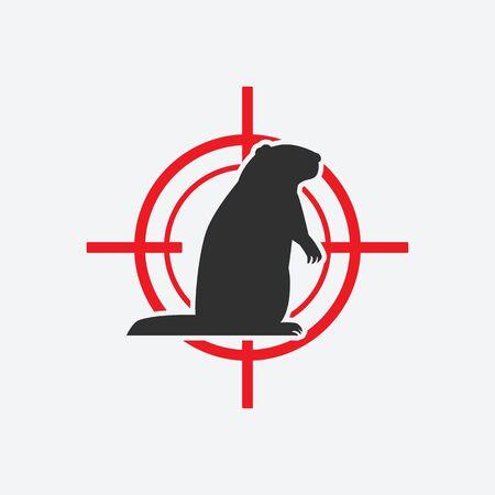 Groundhog silhouette. Animal pest icon red target. Vector illustration Çizim