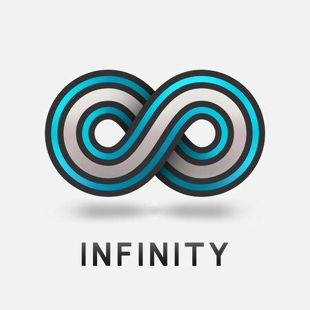 Infinity abstract blue sign design element. Vector illustration Çizim