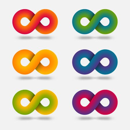 Infinity abstract multicolor signs set. Vector illustration Çizim
