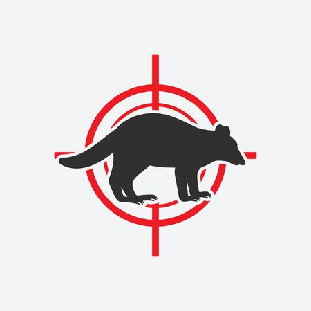 Raccoon silhouette. Animal pest icon red target. Vector illustration
