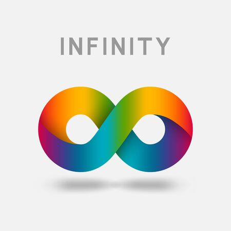 Infinity multicolor abstract sign design element. Vector illustration