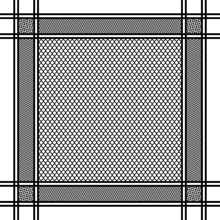 Black and white geometric headscarf pattern. Vector illustration