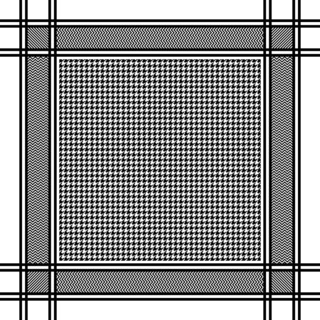 Black and white houndstooth headscarf pattern. Vector illustration