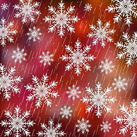 Christmas background. White snowflakes on red blurred background. Vector illustration