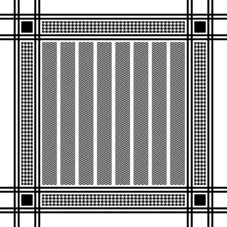 Black and white houndstooth and zigzag headscarf pattern. Vector illustration Çizim