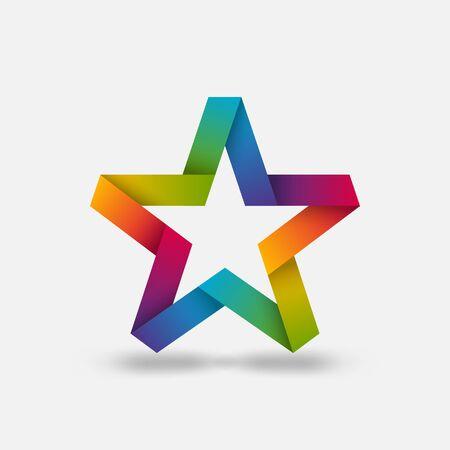 Star ribbon symbol in rainbow gradient colors. Vector illustration Çizim