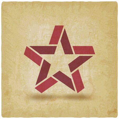 Red star symbol vintage background. Vector illustration