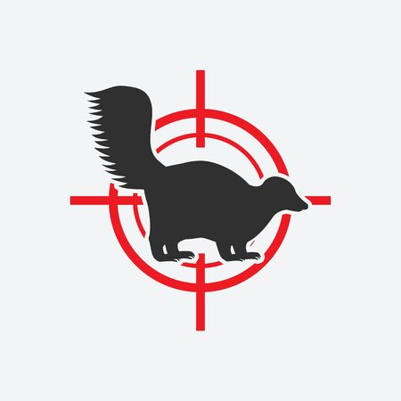 Skunk silhouette. Animal pest icon red target. Vector illustration Vettoriali