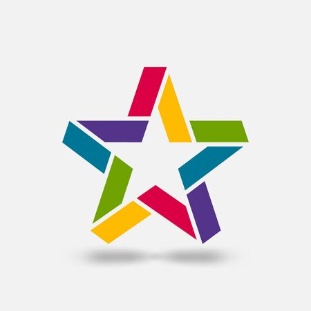 Star ribbon symbol in rainbow colors. Vector illustration Çizim