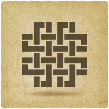twisted interlocked ribbon symbol vintage background. Vector illustration Çizim