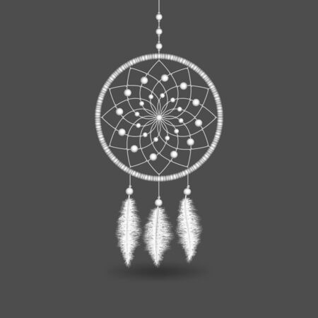 White Dreamcatcher on gray background. Vector illustration Çizim