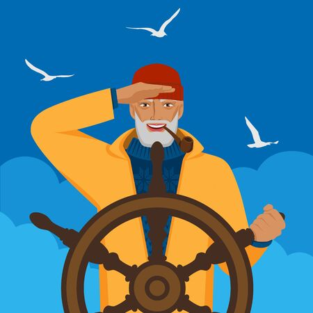 Fisherman looks into distance standing at helm of boat. Vector illustration Çizim