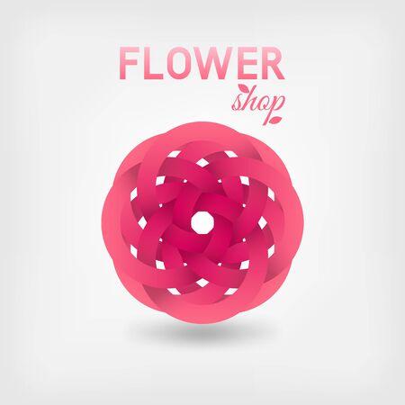 Pink stylized flower of ribbons. Vector illustration Çizim