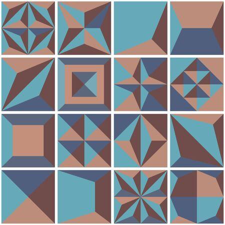 Modern geometric tiles set design element. Vector illustration