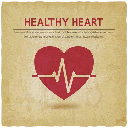 Healthy heart cardiogram symbol old background. Vector illustration Çizim