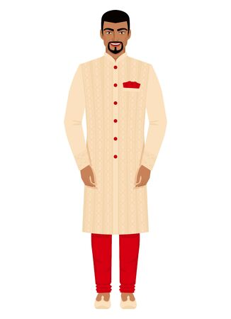 Indian man in traditional costume. Vector illustration Çizim
