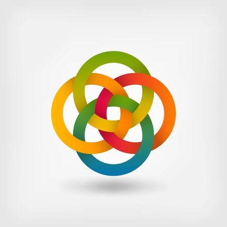Four interlocked circles in gradient rainbow colors. Vector illustration