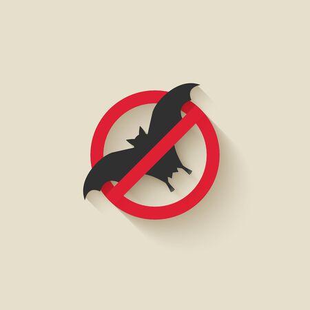 Bat silhouette. Animal pest icon stop sign. Vector illustration
