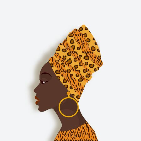 African woman in head scarf and earrings in profile. Vector illustration Çizim