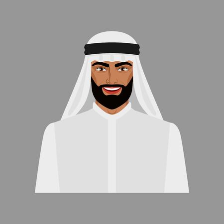 Arabian businessman in traditional clothes. Vector illustration