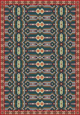 Ethnic carpet tribal geometric pattern. Vector illustration