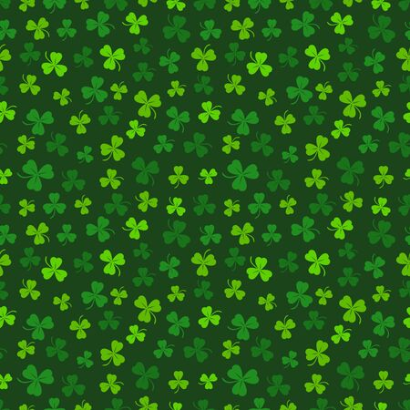 Green clover seamless pattern. St. Patricks day background. Vector illustration