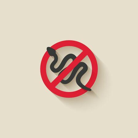 Snake silhouette. Animal pest icon stop sign. Vector illustration Çizim