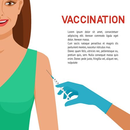 Healthcare concept. Smiling girl getting vaccine. Vector illustration